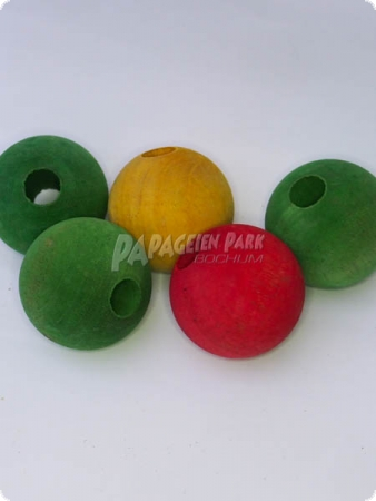 Colorful wooden pearls - Ø 5 cm - 5 pices