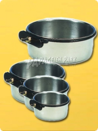 Bird bowl staineless steel - with screw on mount 8cm - 0,15 L