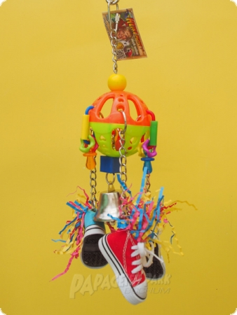 Parrot toy with shoes and little bell