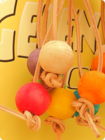 Hanging toy leather & wooden balls 26cm