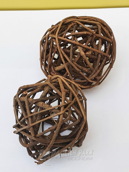 2 pcs Wicker balls Ø 9 cm
